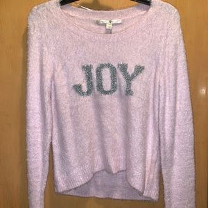 "Fuzzy Pink ""Joy"" Sweater"